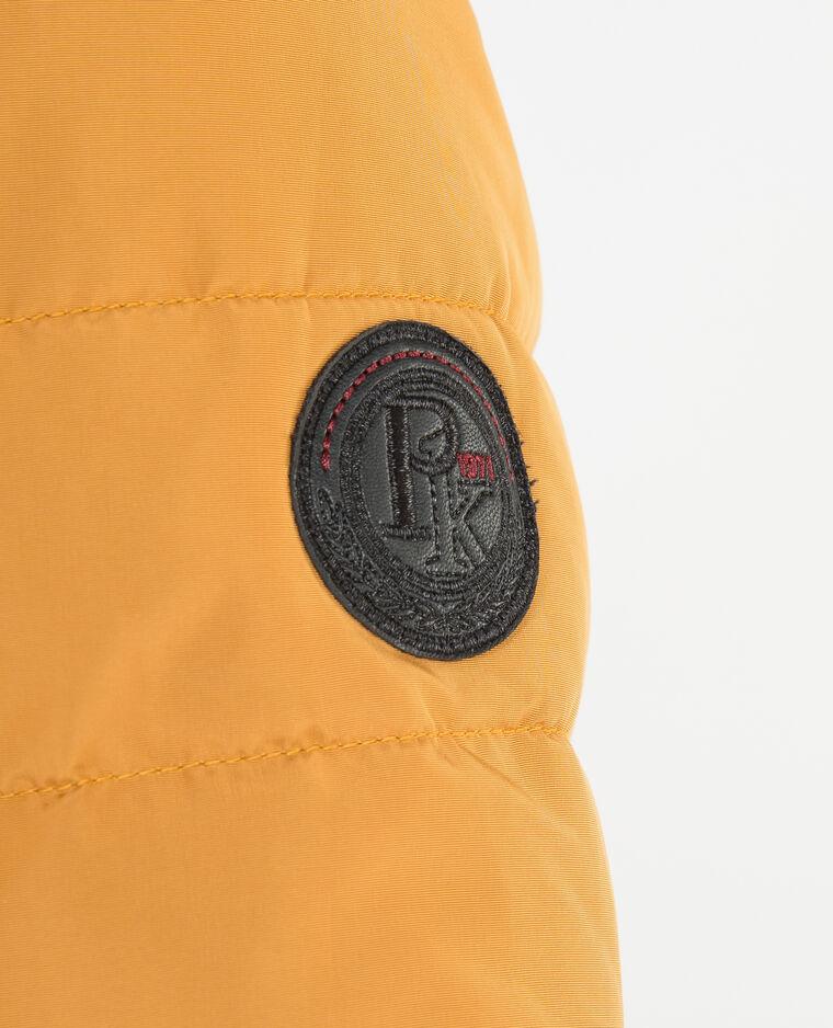 Daunenjacke mit Kapuze aus Webpelz Senfgelb
