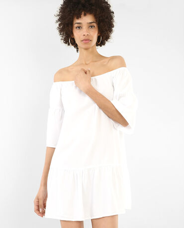 Robe à basque blanc cassé