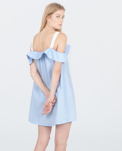 Vestido de volantes abotonado azul claro