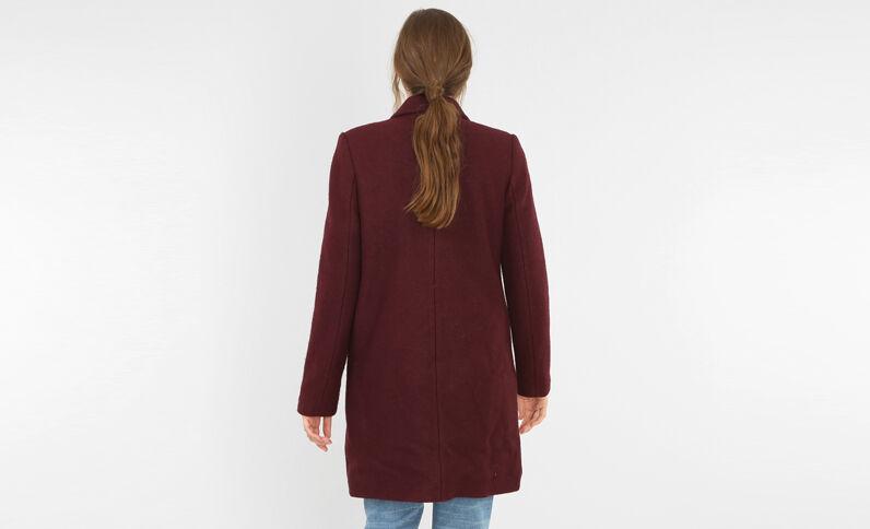 Gerader Mantel aus Wollstoff Granatrot