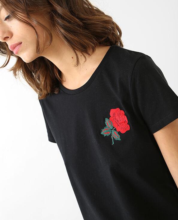 T-Shirt bestickt mit Rose Schwarz