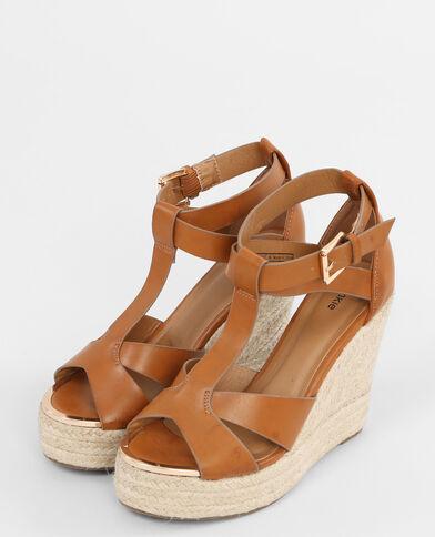 Keil-Sandaletten Kastanienbraun