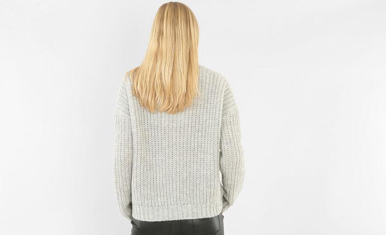 Dikke gebreide trui gemêleerd grijs