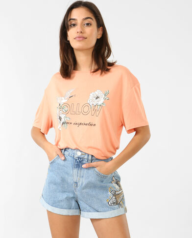 Ruimvallend T-shirt oranje