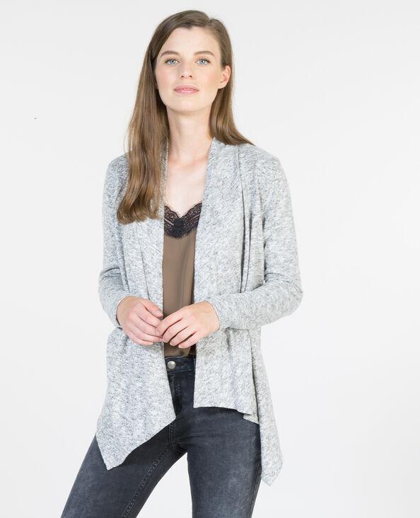 Cardigan sottile con lembi grigio