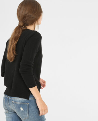 Pull con collo in perline nero