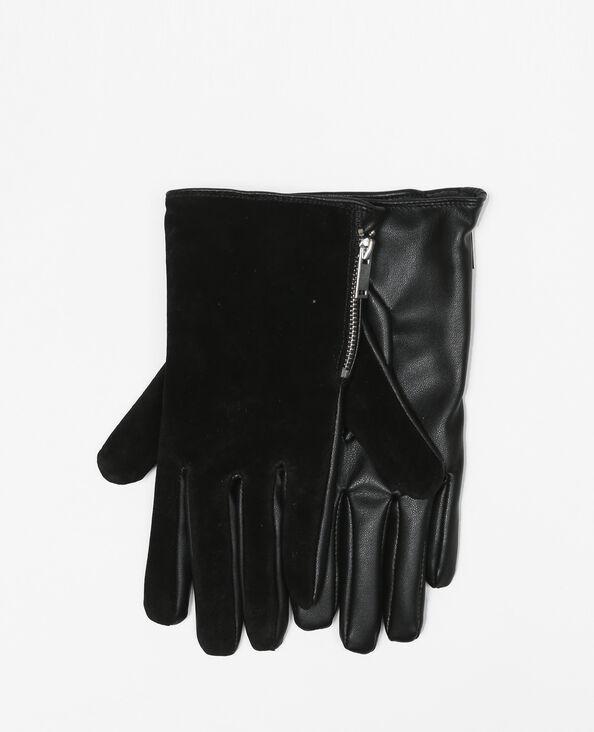 Gants cuir suède et similicuir noir