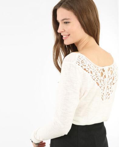 Pullover mit Makramee am Rücken Altweiß