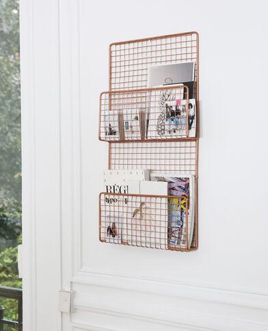 Wand-Zeitschriftenhalter  aus Metall Kupferrot