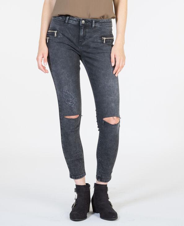 Jeans skinny destroy gris lavado