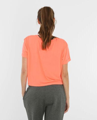 T-shirt cropped sportiva arancio