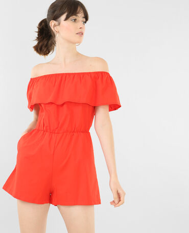 Combishort col bardot rouge