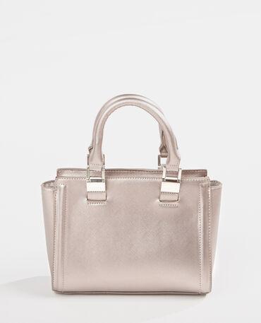 Petit sac à main trapèze gris argenté