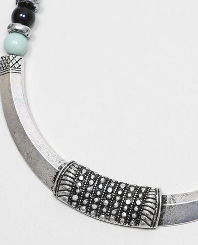 Mehrreihige Perlenkette Grau