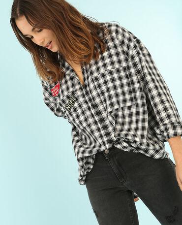 Chemise ample avec patchs blanc cassé