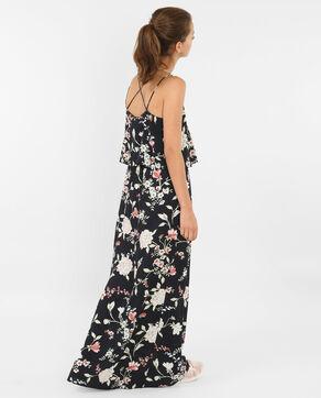 Bedrucktes langes Kleid mit gekreuzten Rückenträgern Schwarz