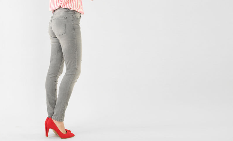 Skinny-Hose im Destroyed-Look Grau