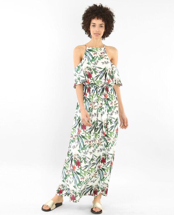 Lange jurk met peekaboomouwen wit