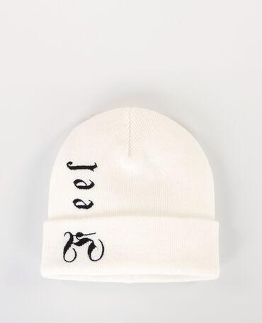 """Mütze mit Schriftzug """"Feel"""" Altweiß"""