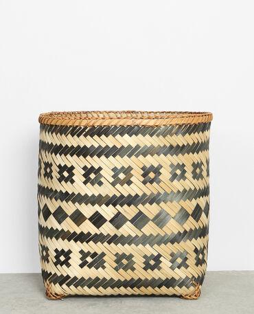 Cesta de bambú trenzado negro