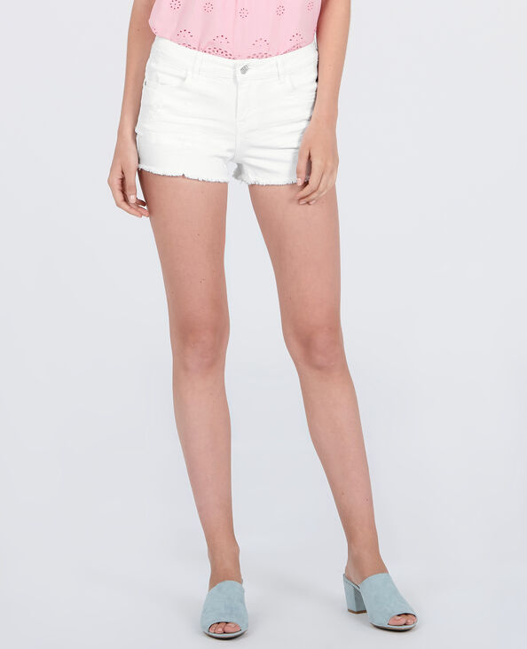 Denim minishort wit