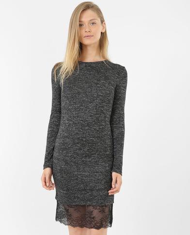 Nauwsluitende jurk met kant grijs