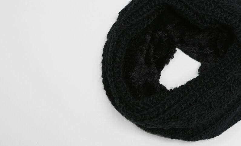 Schlauchschal mit Zopfmuster Schwarz