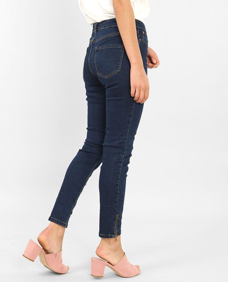 Skinny con cremallera azul