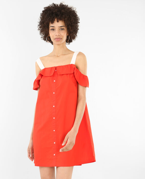 Robe à volants boutonnée rouge