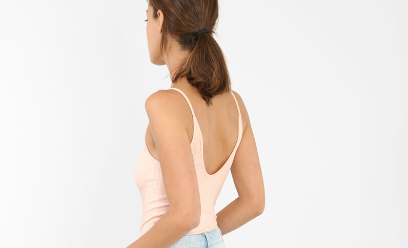 Body van geribbeld tricot bleekroze