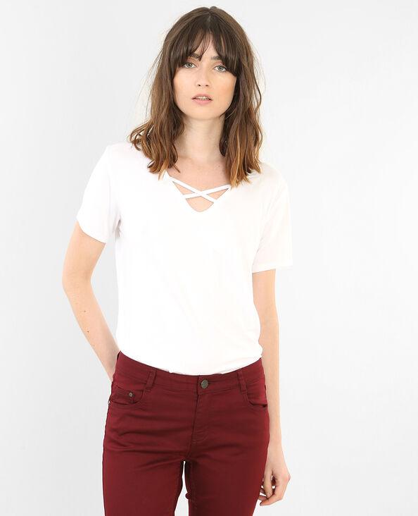 T-shirt col croisé écru