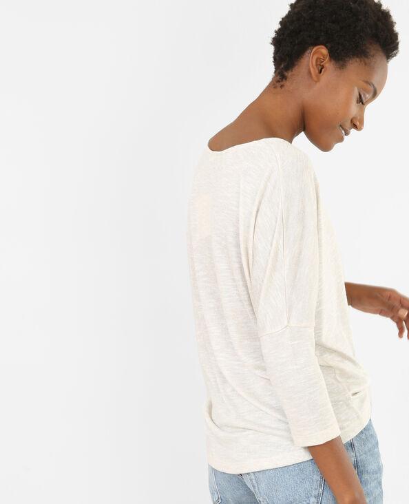 T-shirt poche strass Beige