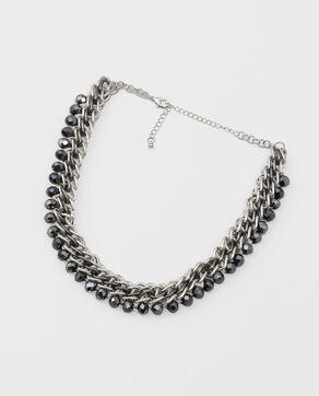 Collier chaîne et perles gris argenté