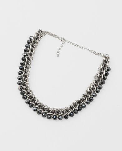 Halskette und Perlen Silberig