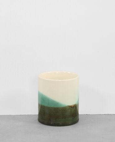 Pot en céramique kaki
