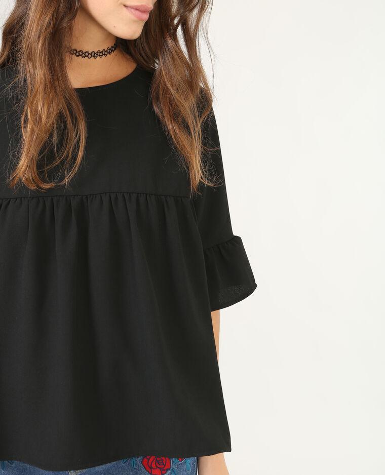 Bluse mit Schößchen Schwarz