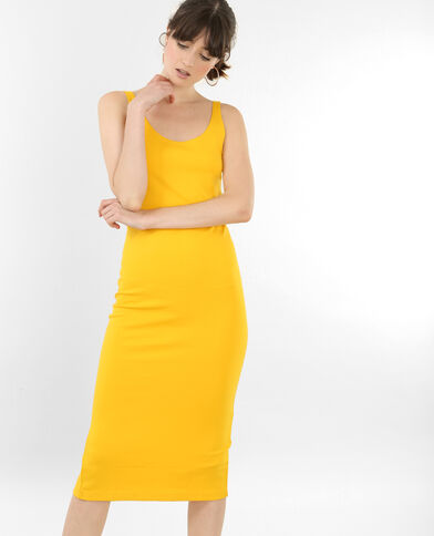 Robe longue bodycon jaune
