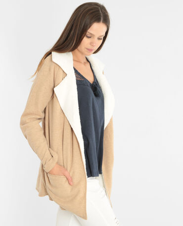 Gilet sweat sherpa beige