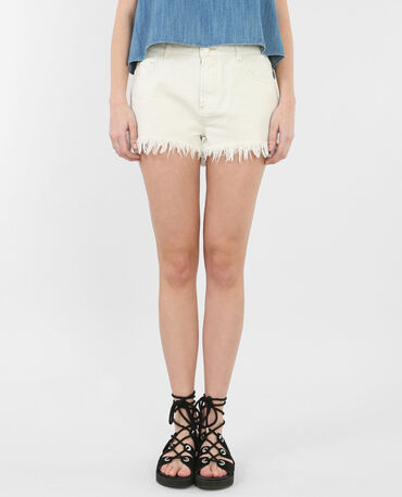 Short denim effiloché écru