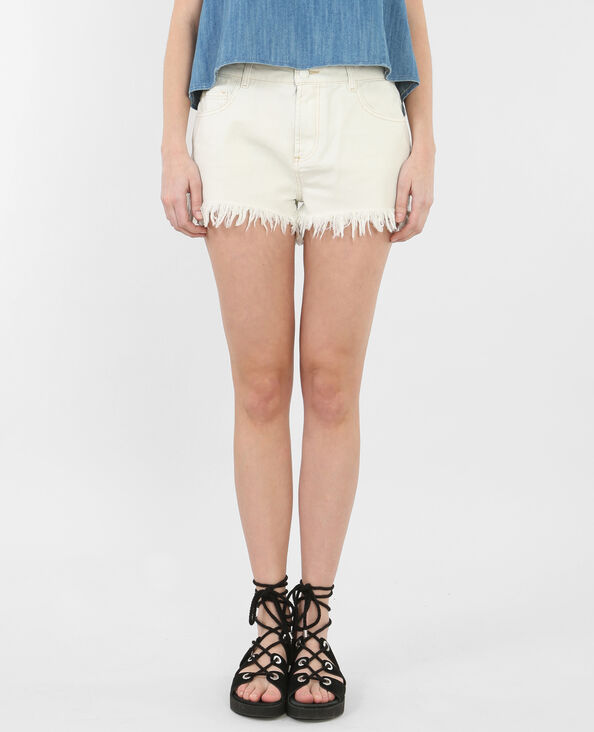 Shorts denim deshilachados crudo