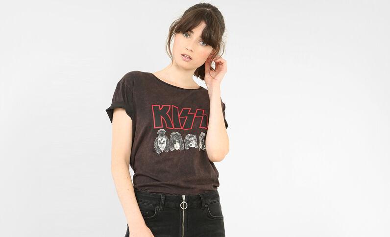 T-shirt Kiss bordeaux