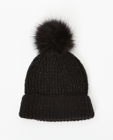 Mütze mit Pompon Schwarz