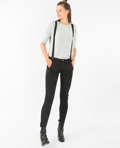 Jeans mit hoher Taille und Hosenträgern Schwarz