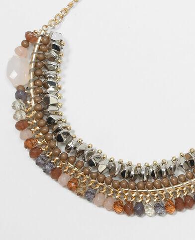 Collier perles fantaisies rose