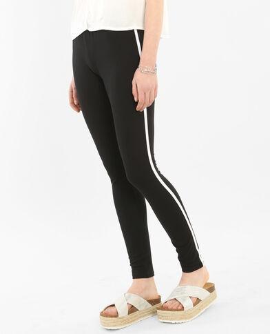 Leggings sportivo con fascia bianca nero