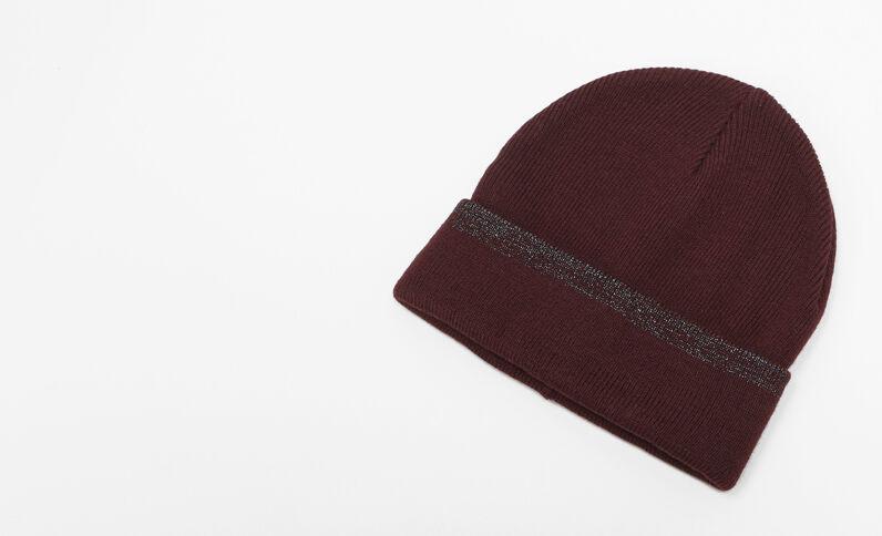 Mütze mit Lurex Bordeauxrot