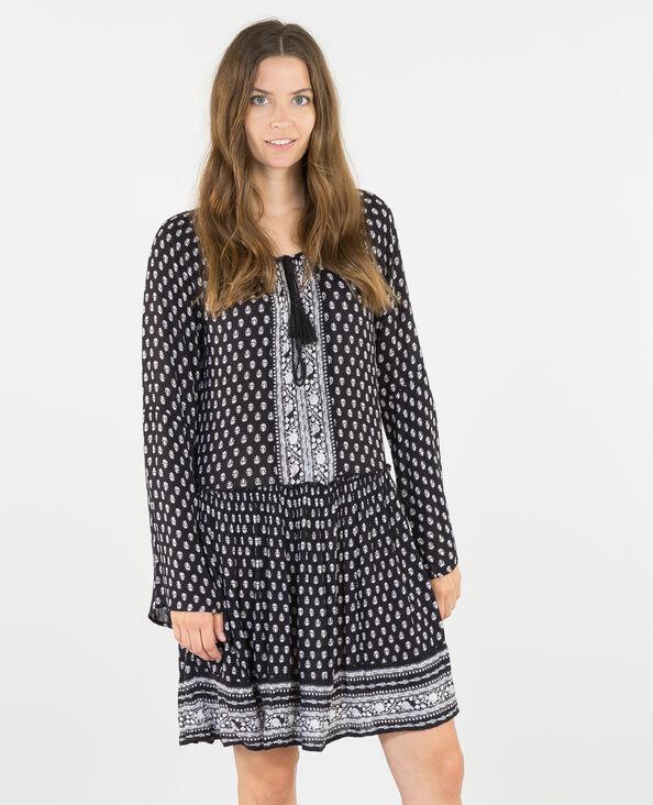 Kleid aus weich fließendem Material mit Pagodenärmeln Schwarz