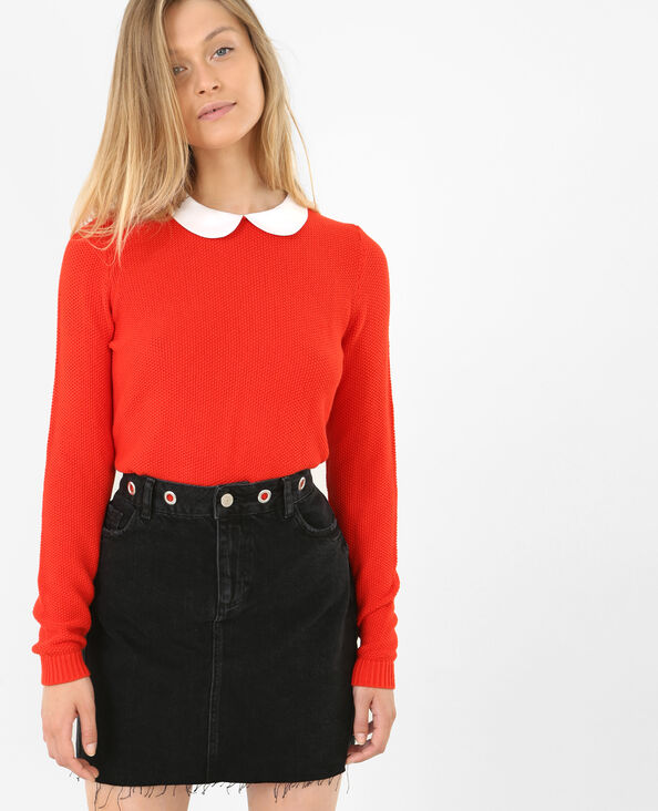 Pull col claudine rouge