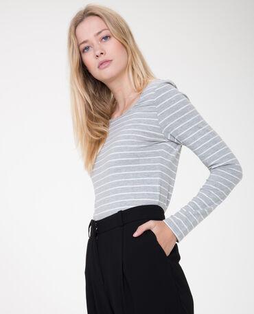 T-shirt à manches longues gris chiné