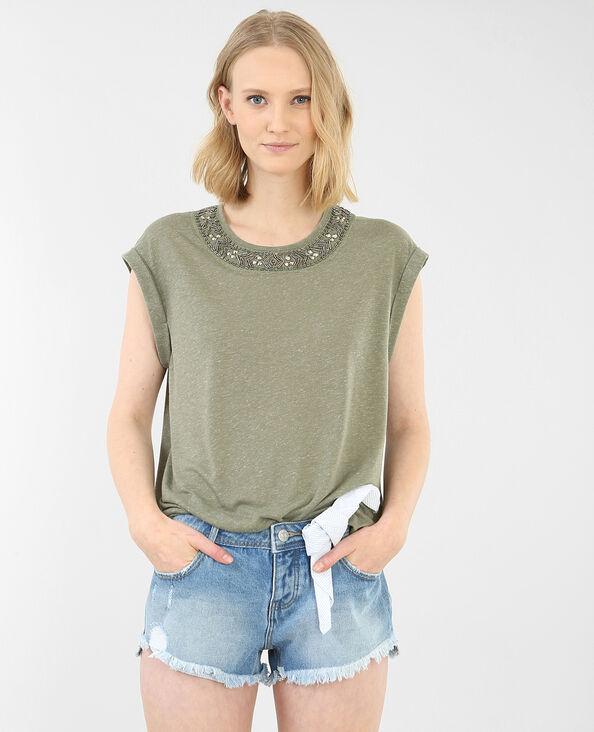 T-shirt encolure bijoux vert